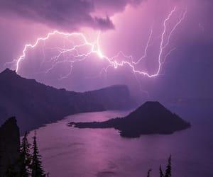 purple, lightning, and nature image