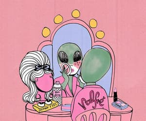 alien, makeup, and pink image