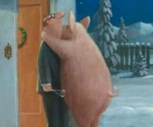 pig, winter, and hollydays image