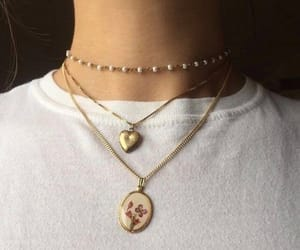 necklace, tumblr, and gold image
