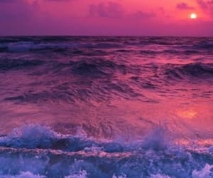 sea, sunset, and pink image