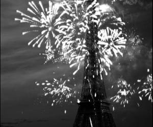 black, eiffel tower, and fireworks image