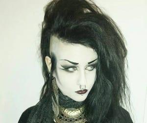 black lips, dark makeup, and goth girls image