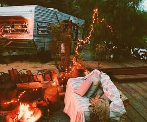 camping, lights, and trailer image