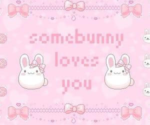 kawaii, pink, and bunny image
