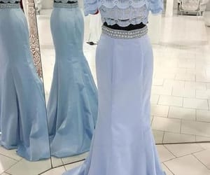 prom dress blue, lace evening dress, and prom dress long image