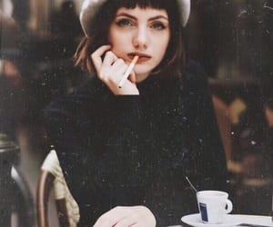 beret, cafe, and cigarettes image