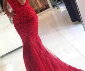 cute prom dress, red mermaid prom dress, and lace evening dresses image