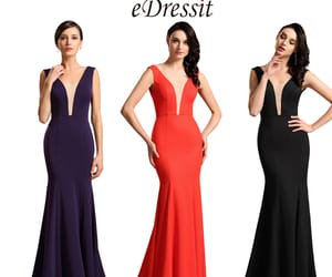 formal gowns, evening party dress, and plunging v-cut image