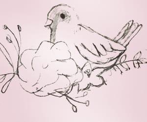 art, bird, and sparrow image