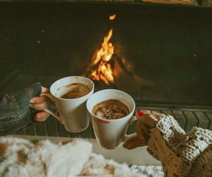 winter, fireplace, and coffee image