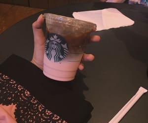 coffee, pink, and starbucks image