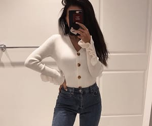 brunette, design, and sweater image
