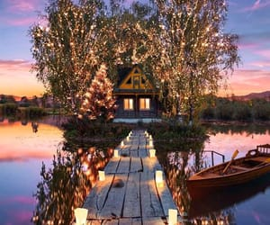 lights, beautiful, and lake image