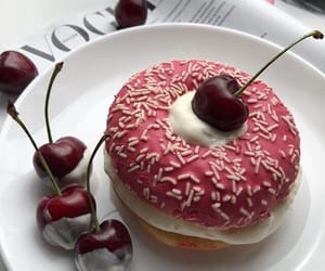 cherry, food, and donut image