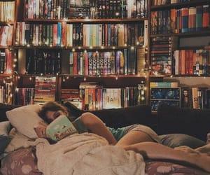 books, girl, and lights image