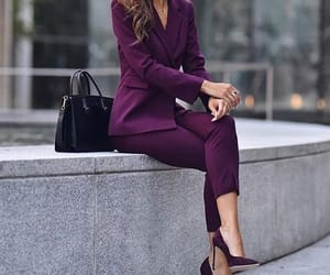 office, outfit, and purple image