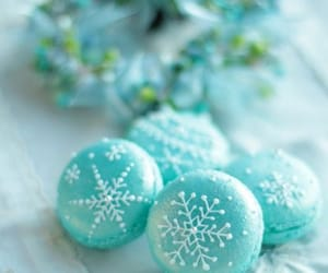 blue, macaroons, and snowflake image