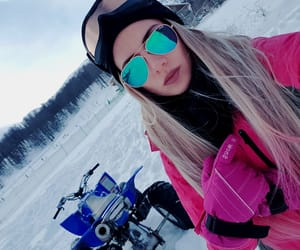 blonde, snow, and girl image