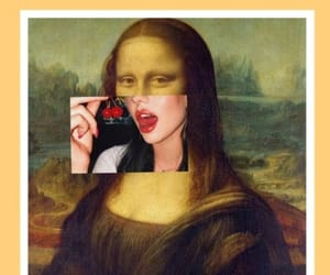 art, cherry, and mona lisa image