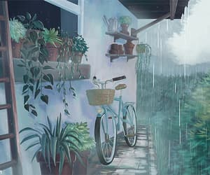 aesthetic, anime, and rain image