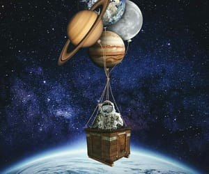 astronaut, balloons, and planets image
