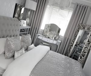 bedroon, decoration, and grey image
