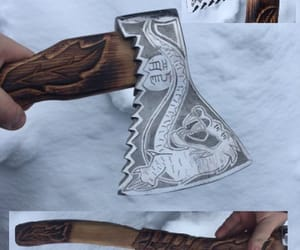 axe, dragon, and etsy image