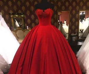 red dresses, lace dresses, and dresses ball gown image