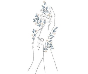 art, flowers, and hands image
