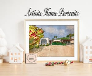 etsy, home sweet home, and watercolor painting image