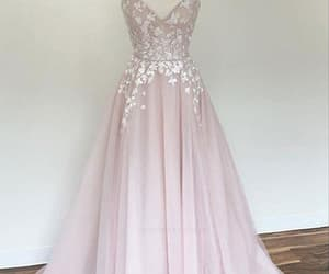 pink prom dress, cheap prom dress, and appliques prom dress image