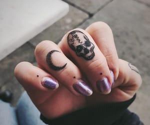 tattoo, moon, and skull image
