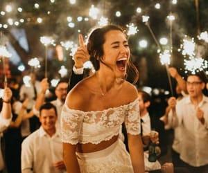 fireworks, wedding dress, and smile image