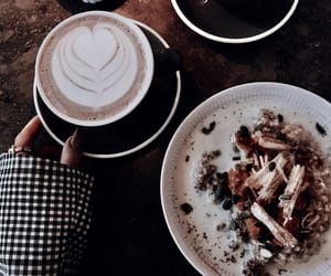 cappuccino, drinks, and food image