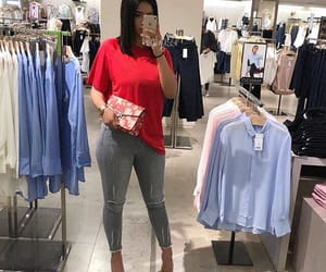 grey, jeans, and outfit image