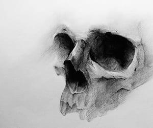 art, black&white, and dark image