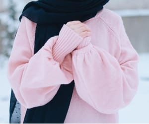 hijab, pink, and sweater image