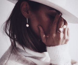 earrings, fashion, and hat image