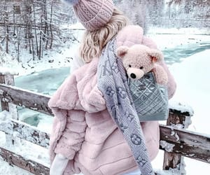 winter, girl, and pink image