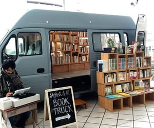 books, store, and truck image