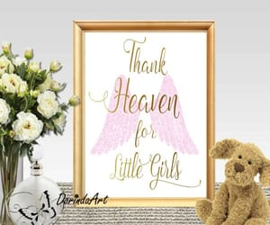 Angel Wings, gold and pink, and girlsbedroomdecor image