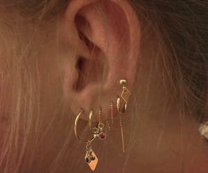 earrings, gold, and piercing image