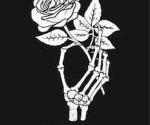 black and white, roses, and skull image