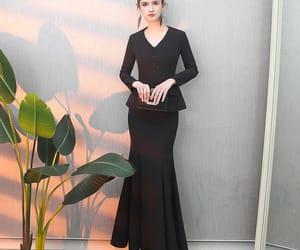 black dress, mermaid dress, and simple dress image