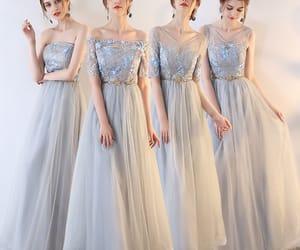 girl, grey dress, and bridesmaid dress image