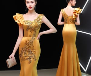 embroidered, gold dress, and evening dress image