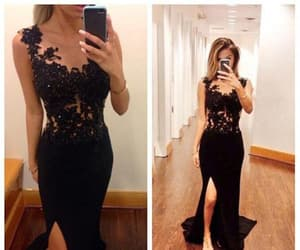 black prom dress, lace prom dress, and lace black prom dress image