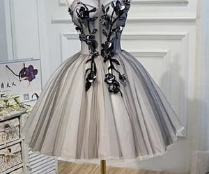 grey prom dress, ivory homecoming dresses, and appliques prom dress image