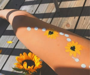art, body paint, and sunflower image